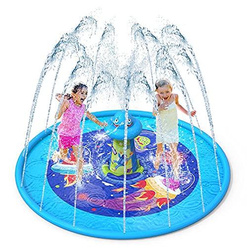 """VATOS Splash Pad Aspersor de Juegos de Agua - Almohadilla de Juego de Agua Antideslizante de 67"""" con Diseño UFO, Aspersor de Juego Salpica de Jueg Agua para Niños Juegos Aire Libre"""