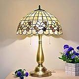 Lámpara de Mesa de Interior,Lámpara de Escritorio de Lectura de Vidrieras Vintage con Pantalla de...