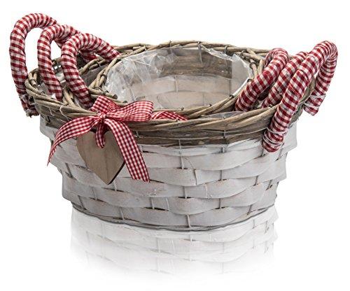 chiccie Lot de 3 panier Rotin avec cœur pendantes – Ovale Rouge Blanc Planter Pot Pot