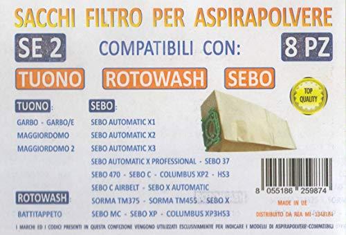 MFSE2 CONF 8PZ Sacchi ROTOWASH SEBO Tuono Compatibile con I Modelli INDICATI nella Foto