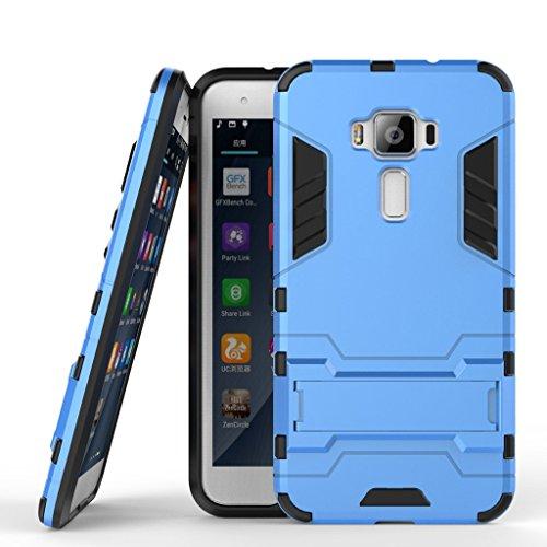 Handyhülle für Asus Zenfone 3 ZE520KL Hülle Schale Tasche, Ougger Extreme Schutz [Kickstand] Leicht Armor Schutz SchutzHülle Hart PC + Soft TPU Gummi 2in1 Rear für ZE520KL Blau