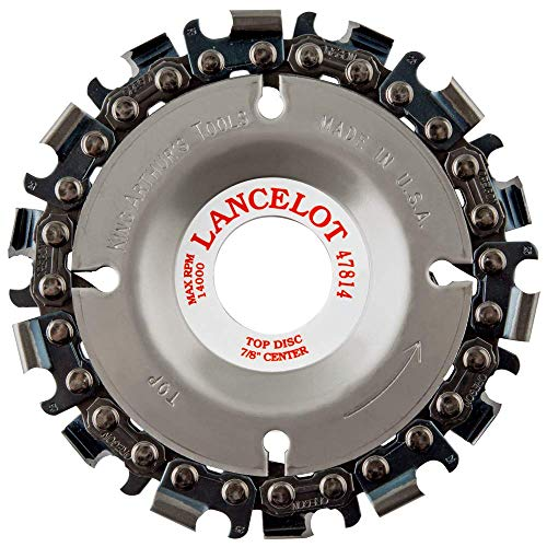 "King Arthur's Tools Original & Patented Lancelot 14 Tooth Carving Disc - 4' (100mm) Dia. X 7/8"" (22mm) Bore - Fits 4 and 4 1/2' Woodworking Angle Grinder - Attachment for Milwaukee, Fein 47814"