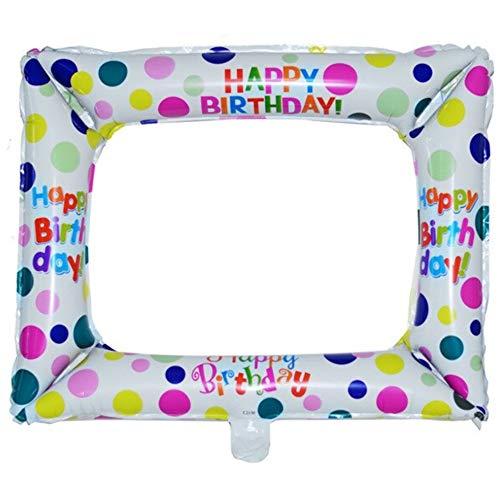 DIWULI, Foto-Rahmen Luftballon Happy Birthday weiß bunt, Fenster Folien-Luftballon, Geschenk-Deko, Bilder Folien-Ballon für Geburtstag, Kindergeburtstag Mädchen Jungen, Dekoration, Geschenk-Deko, DIY