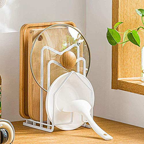 Kitchen Bakeware Pot Lid Rack Holder, 4 Slots Multifunctional Kitchen Organizer Metal Storage Shelf for Cookware, Chopping Cutting Board, Counter Cabinet, Plates, Dishes