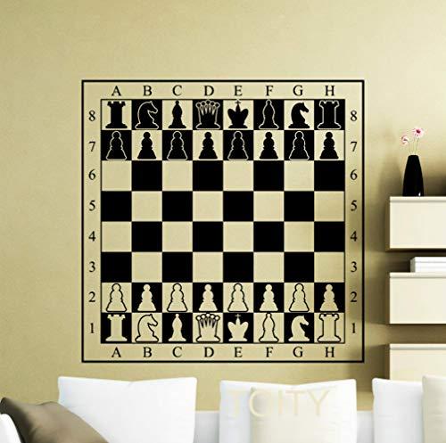 JXAA Chessboard Sticker Piezas de ajedrez Tablero de ajedrez Pared de Vinilo Sticker Room Decoración de Interiores Decoración de Arte Mural Fresco 58cm x 58cm