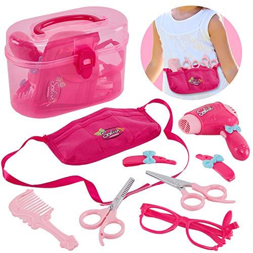 HERSITY Friseur Kinder Spielzeug Friseurkoffer mit Haartrockner Hairstyling Set Mädchen Kinder 3 4 5 Jahre