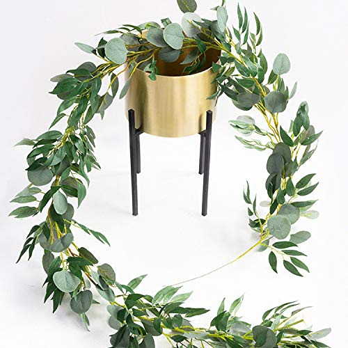 Whaline 6ft Artificial Blended Faux Silver Dollar Eucalyptus and Willow Leaves Vines, Hanging Leaf Garland for Home Garden Wall Doorway Backdrop Decoration, Birthday Wedding Party Decor
