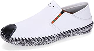 Leisure Driving Loafers For Men Round Toe Oxfords Casual Flat Penny Shoes Leather Upper Slip On Stitch Walking Boat Shoes Lightweight Elastic` Tussy (Color : White, Size : 38 EU)