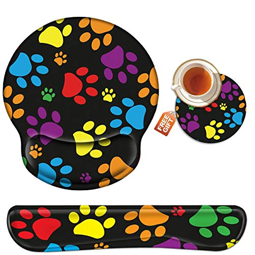 Wrist Rest for Computer Keyboard and Mouse Pad with Wrist Support Gel, Cute Dog Paw Ergonomic Mousepad Comfortable Keyboard Pad Set Non-Slip Base Come with A Cute Coaster