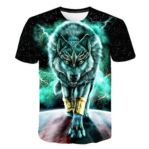 T-fashion shop Camisetas 77D Patrón Impreso Camisetas Cuello ,Camiseta de Manga Corta Impresa 3D Casual Graphic Tees Top-27_XXL