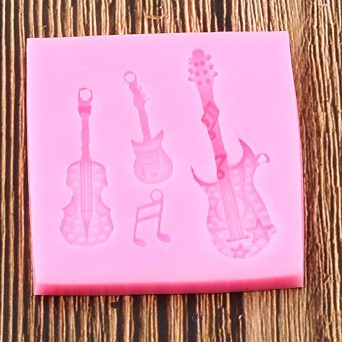 Camff Siliconenvorm voor 3D-gitaar, gereedschap voor het versieren van taarten voor feestjes en knutselen, bakvormen van chocolade