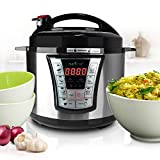 NutriChef Electric Pressure 5 Quart Programmable Multi-Cooker with Digital Display | R Small Countertop Appliance, 5 Qt Capacity, Stainless Steel