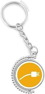 DIYthinker Mannen Oranje Plug Kabel Opladen Kabel Patroon Draaibare Sleutelhanger Ring Keyholder 1.2 inch x 3.5 inch Multi...