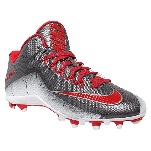 Nike Alpha Pro 2 3/4 TD PP Football Cleats Mens Size 13 Metallic Gray Red White