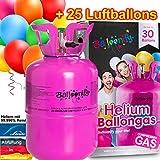 Carpeta BALLONGAS FÜR 30 Luftballons + 25 Ballons + FÜLLVENTIL   Helium Einweg Flasche Luftballon Folienballon Deko Geburtstag Party Hochzeit