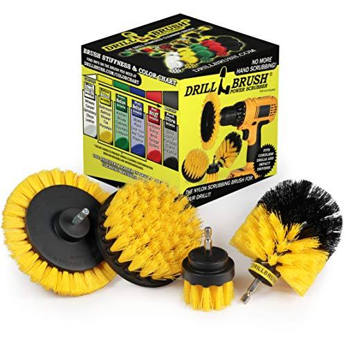 Drillbrush Yellow - Shower Cleaning Rotary Drill Brush Kit - Power Brush Scrubber for Bathroom - Grout Cleaning Drill Brush - Rotary Scrub Brush Tile Cleaner Drill Attachment - Bathroom Tile Scrubber