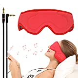 ACOTOP Sleep Headphones Eye Mask with Ultra Thin Speakers, Perfect for Sleep Noise Canceling Headphones, Air Travel, Meditation and Relaxation (Red)