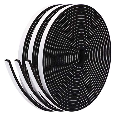 Fowong Adhesive Weather Stripping Foam Tape 6mm(W) x 3mm(T) Window Door Draught Excluder SoundProof Weather Strip Tape Seals for Gap Seal, 3 Rolls Total 15M Long