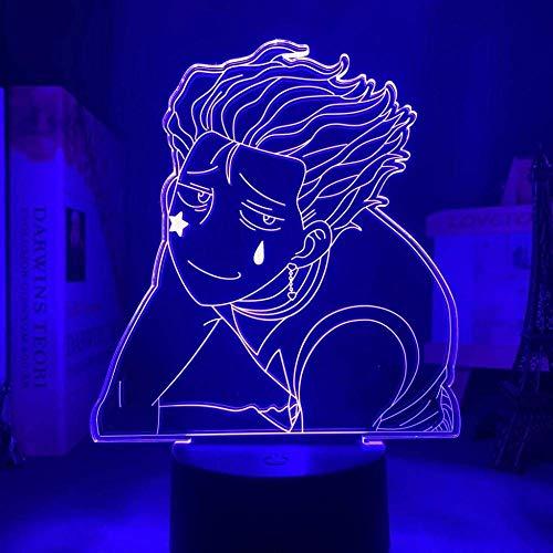 3D Anime Illusion Lámpara Anime LED Luz Hisoka Meme para Niños Dormitorio Decoración Luz nocturna Alto x Hunter X Hunter Lámpara de mesa 7 colores