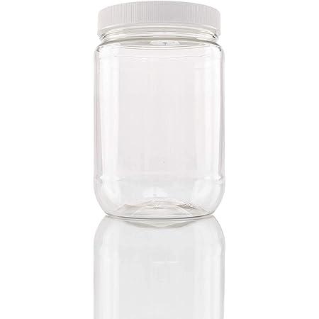 10 x 1L Short Round Plastic Storage Jars Kitchen//Garage Organisation /& Black Lid