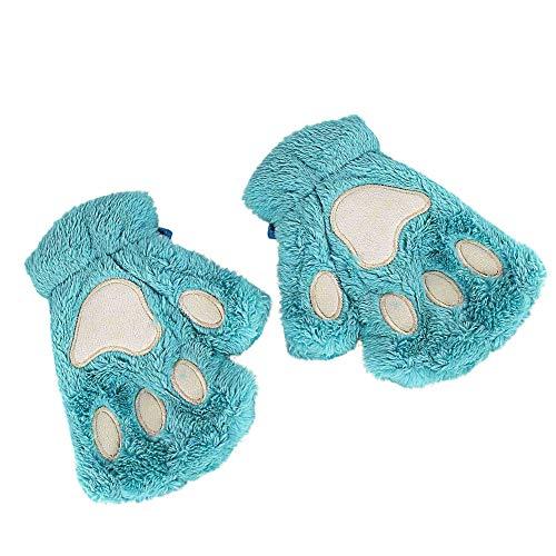 SHOBDW Mujeres Guantes Invierno de encantador Pata de Gato tejidos Suaves Resistente al viento frío y cálido Guantes sin dedos media cubierta guantes femeninos Como un regalo(Azul,One Size)