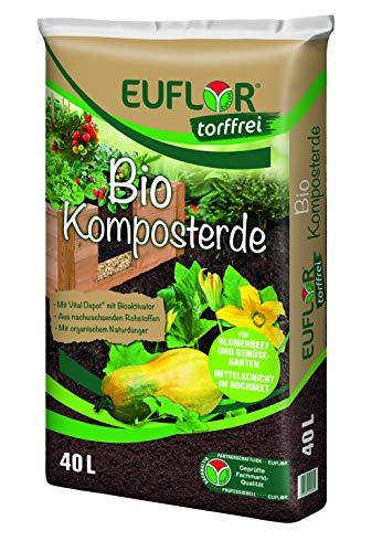 Euflor Bio Komposterde torffrei 40 L Sack, zur Aufbesserung und Anreicherung von Allen gärtnerischen Böden, aus 100{d94c8c49198b533f0ebb4cb3177ac2a71a7d6901eccfbc5b14ca53e80a3eeaa2} nachwachsenden Rohstoffen