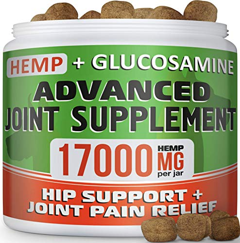 GOODGROWLIES Hemp Chews + Glucosamine - Advanced Dog Joint Supplement - Hemp Seed Oil - MSM, Turmeric, Chondroitin - Natural Joint Pain Relief - Made in USA, 170 Treats, Bacon Flavor