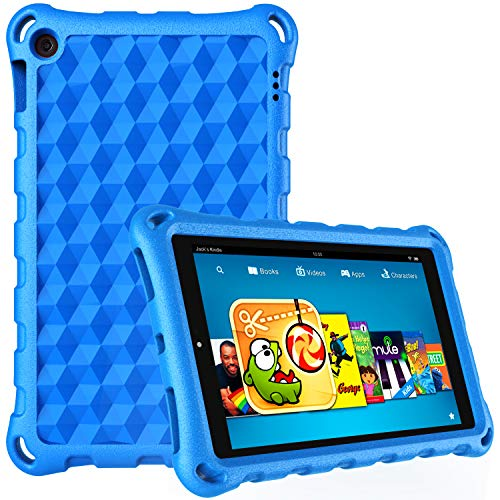 Case for for All-New 7 Tablet (7th/9th Generation - 2017/2019 Release)-DiHines Anti Slip Shockproof Kids Friendly Case for 7 inch Tablet 2019 & 2017,Blue