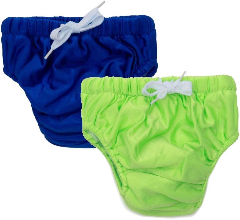 2-Pack KaWaii Baby Reusable Swim Diaper for Baby, Toddler, Children (Neon Green, Navy Blue, Medium)