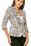 Love Token Womens Noah Tweed Fringe Blazer Sport Coat in Black M - LT100-27-BLK-M