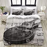 Luoquan Ropa de Cama - Funda nórdica Retro Gray Music Note Guitarra Microfibra Nuevo Set de Tres Piezas Funda de edredón 220 x 240 cm
