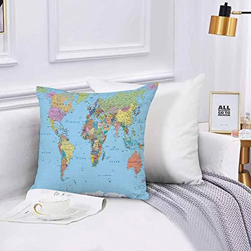 Lilatomer Funda de algodón 45 x 45 cm Mapa Mundial Coloreado: fronteras, países, Carreteras y Ciudades Sofá Throw Cojín Almohada Caso de la Cubierta para Sala de Estar 45x45cm