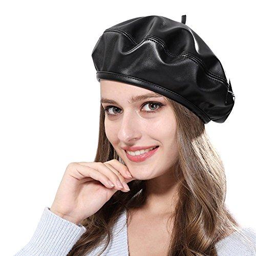 iKulilky Niña Pantalla Gorros Elegante Piel sintética Gorro de Invierno Trendy Beret Painter de Tapa Artista Pintor Sombrero Gorro Vasco Gorros para Mujer Gatsby News Boy Gorra Negro