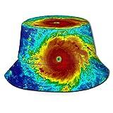 Henry Anthony Infrarot-Satellitenbild von Hurricane Irma bedruckter Fischer-Eimer-Sonnenhut, Funky Junque-Eimer-Kappen, Papa-Hut