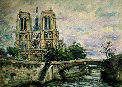 AMZJIEFU Puzzle 1000 einzelteile Mountain Puzzles Jigsaw Notre Dame Cathedral Grey Installationsspaß und Kinder ab Puzzle unmögliche sehr