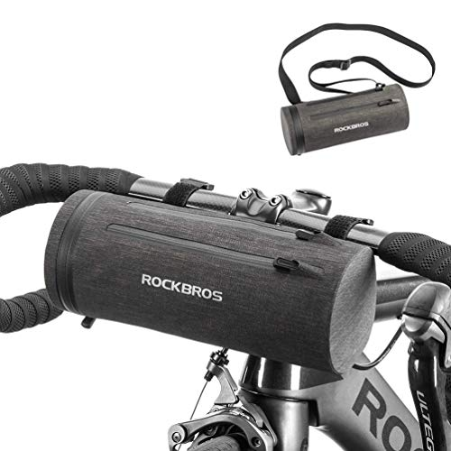 ROCKBROS Bolsa de Manillar de Bicicleta MTB Multifuncional 2L Bolsa de Cuadro Impermeable Ciclismo Negro Dorado