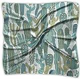 Pañuelo cuadrado de seda mulipurposa, diseño de cactus, color verde oveja
