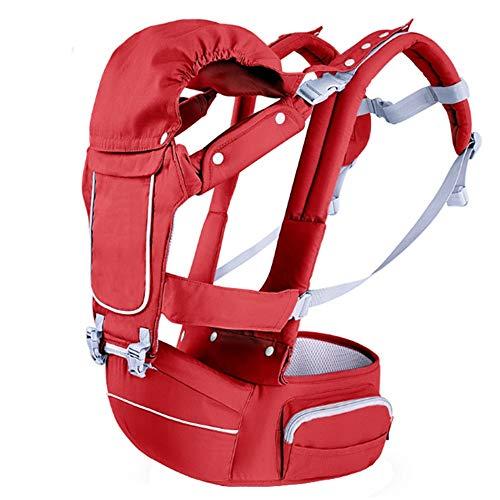 YUMEIGE Babytragen Babytragen, Einzelcockpit, Babybauchtragen, abnehmbares Doppeltuch, Baby-Tragetasche, mit Sonnenhut, 3 Farben (Color : Red)