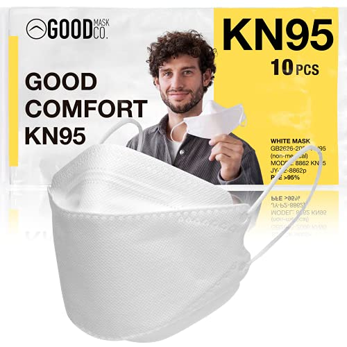 The Good Mask Co. Good Comfort KN95 Face Mask, Disposable KN95 Face Mask, Folding, Filter Efficiency ≥95%, Comfortable Face Masks, Bulk Face Masks (10 Pack of Masks, White)