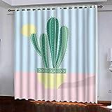 TTBBBB cortinas salon ojales 3D - Planta en maceta de cactus - Ancho 300 x Altura 270 cm Dormitorio Moderno Blackout Curtain Suaves Proteccion Intimidad para Ventanas de Habitación Juvenil con Ojale