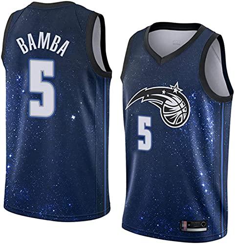 ZMIN Uniformes de Baloncesto para Hombres, Orlando Magic # 5 Bamba Basketball Jerseys Tops Transpirables Tapas Sueltas Chalecos de Camiseta,Azul,L 175~180cm