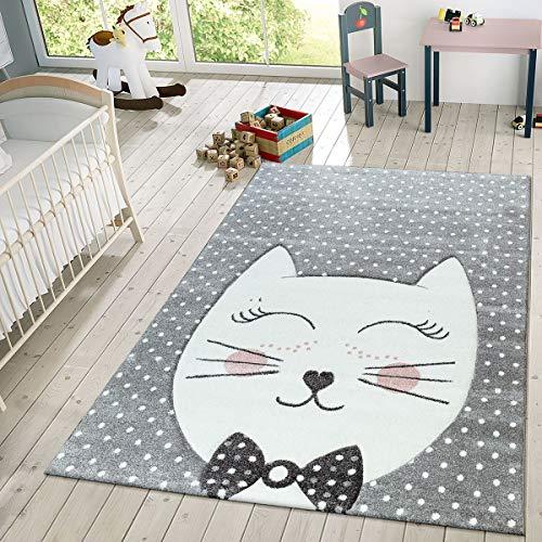 TT Home Kinder Teppich Modern Süße Katze Mit Schleife Punkte Design Spielteppich Grau Weiß,...