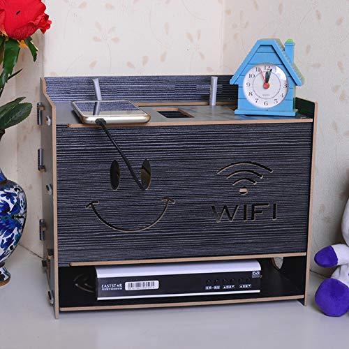 DuDu Montaje De Madera Router Caja De Almacenamiento Insertar Fila Rack Madera Libre Perforación Sonriente Cara WiFi Patrón Montaje En Pared,Black