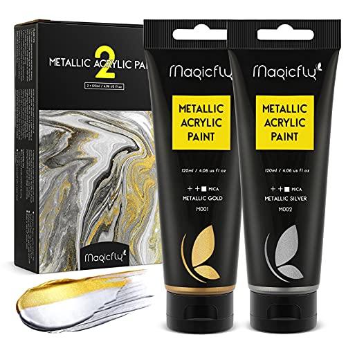 Magicfly Acrylfarben Metallic, 2x120ml Metallic Farben zum Malen, Zeichnen&Modell für Künstler, Hobby-Maler, Erwachsene & Kinder, Gold & Silber