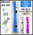 Powerful 100 watt, LED Lit TOWER SPEAKER, Colour Changing Chasing Lights, Bluetooth, Great Sound Reproduction, MP3 Play-back (USB / SD Card), FM Radio, Remote Control, 3.5mm Jack AUX IN, 1 metre tall by Steepletone