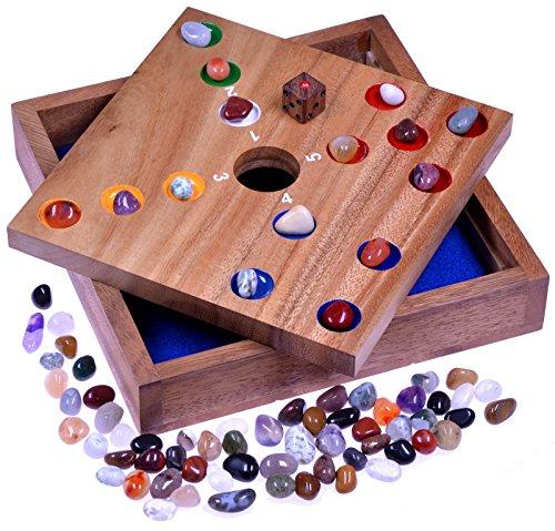 LOGOPLAY Big Hole - Pig Hole - Würfelspiel - Gesellschaftsspiel - Brettspiel aus Holz mit Edelsteinen