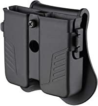 Double Magazine Holster, Universal Magazine Pouch, 9mm/.40/.45 Single & Double Stack Magazine Holder for Glock/Sig sauer/S&W/Beretta/Browning/Taurus/H&K Pistol Mags, Adjustable Paddle Mag Carrier