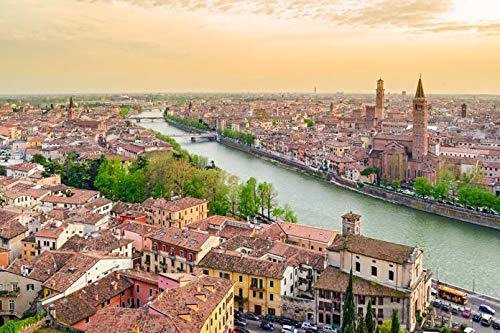 Verona, Italy - Aerial view of City at Sunrise A-9010661 (16x24 Giclee Gallery Print, Wall Decor Travel Poster)
