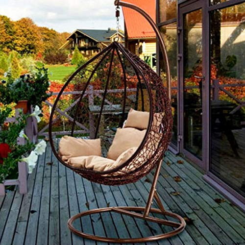 Harrier Hanging Egg Swing Chairs – 2 Sizes | Indoor Outdoor Patio Garden Chair – Freestanding Weaved Basket Seat (Single Seat Only, Brown/Cream)