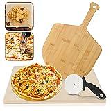 VINGO Pietra Refrattaria per Cottura Pizza, per Cuocere nel Forno Grill di Casa Pane Torte Pizze, Teglia Rettangolare 38 x 30 x 1,5cm Cordierite, con Taglia Pizza Coltello Tondo Pala bambù